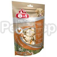 8in1 Europe Delights Bones Chicken Bag S (из гровяжей кожи и куриногро мяса)