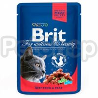 Brit Premium with Beef Stew & Peas ( Брит премиум - консерва с тушеной говядиной и горохом для взрослых кошек)