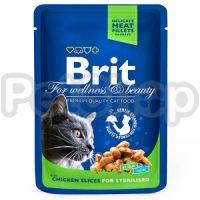 Brit Premium with Chicken Slices for Sterilised ( Брит премиум - консерва с кусочками курицы для стерилизованных котов и кошек)