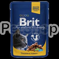 Brit Premium with Chicken & Turkey ( Брит премиум - консерва с курицей и индейкой для взрослых кошек)