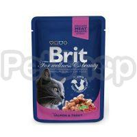 Brit Premium with Salmon & Trout ( брит премиум - консерва с лососем и форелью для взрослых кошек)