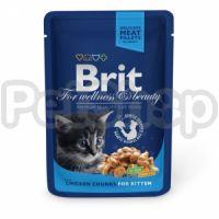Brit Premium with Chicken Chunks for Kitten ( Bбрит премиум - консерва с кусочками курицы для котят)