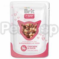 Brit Care Chicken & Duck Pouch ( Брит кэа - консерва с курицей и уткой для взрослых кошек)