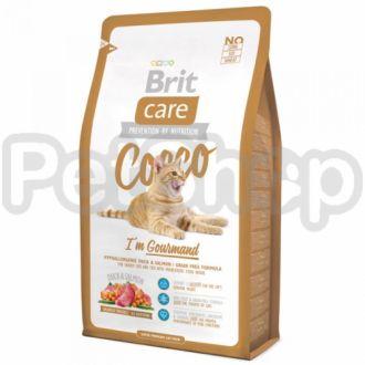 Brit Care Cat Cocco I am Gourmand ( брит кэа гипоаллергенный беззерновой корм с мясом утки и лосося для привередливых и с чувствительным пищеварением кошек)