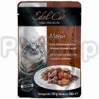 Edel Cat mit Gefluegel und Kaninchen ( Консервы премиум класса Эдель кэт нежные кусочки в желе птица, кролик)