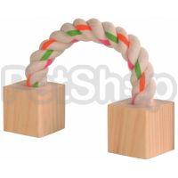 Trixie Деревянная игрушка ( Два деревянных блока соединенные канатикомиз хлопка)