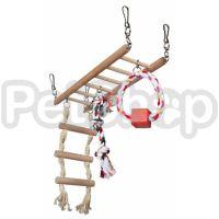 Trixie Игровая лестница ( Подвесная идеревянная лестница для грызунов с канатиком, веревочной лестницей и кольцом)