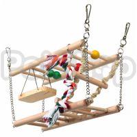 Trixie Подвесной мост ( Две подвесные деревянные лестницы с канатиком, лестнецей из веревки и качелькой)