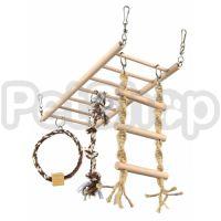 Trixie Мостик для хорьков ( Подвесная деревянная лестница для хорьков с кольцом, канатиком и веревочной лесенкой)